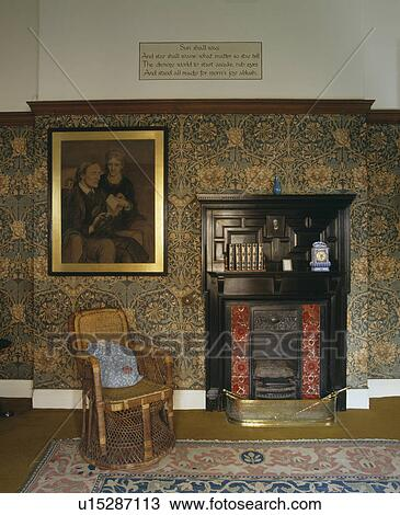 Arts Crafts Livingroom With William Morris Wallpaper And Willow Chair Beside Fireplace Stock Image U15287113 Fotosearch