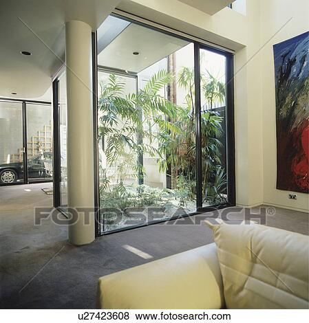 Atrio, in, moderno, bianco, soggiorno Archivio Fotografico