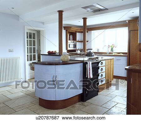 Black Oven In Island Unit Modern White Kitchen With Travertine Floor Tiles