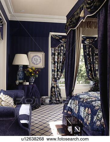 Blue White Checked Carpet In Dark Bedroom With Fl Curtains And Bed D