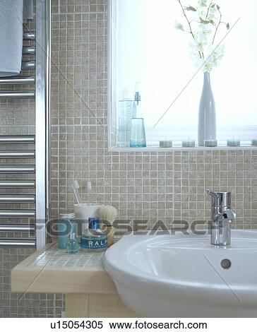Closeup Of Natural Coloured Modern Bathroom With Beige Mosaic Tiles Stock Photography
