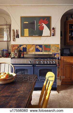 Banco de Fotografías - colorido, azulejos, sobre, azul, gama, horno ...