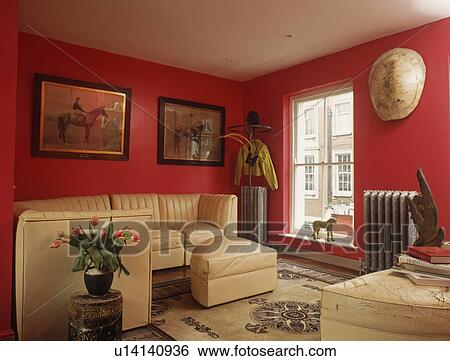 Cream Leather Sofas In Modern Red Living Room