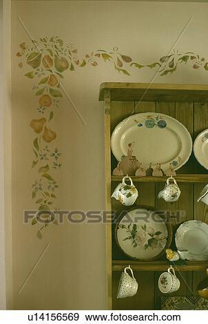Colección de fotografía - floral, plantilla, en, pared, sobre ...