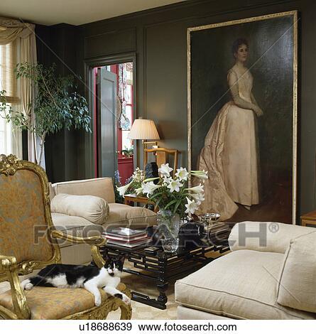 Stock Fotografie - groot, schilderij, op, muur, in, traditionele ...