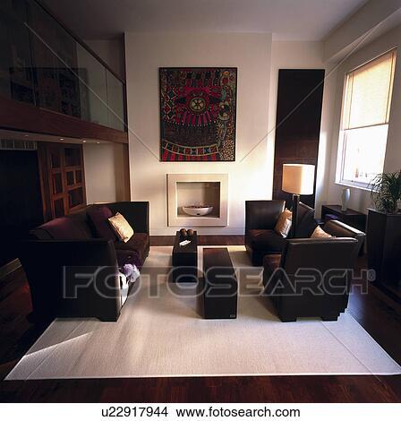 Archivio Fotografico - marrone, sofà cuoio, in, moderno, black+white ...