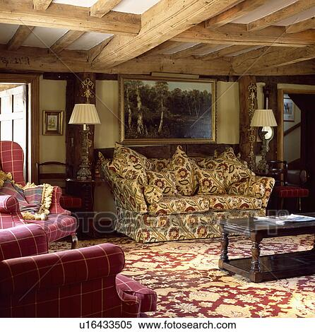 Excellent Patterned Carpet And Sofa In Beamed Cottage Living Room Pdpeps Interior Chair Design Pdpepsorg