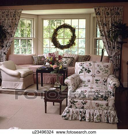 Super Pink Green Floral Loosecover On Armchair In Traditional Uwap Interior Chair Design Uwaporg