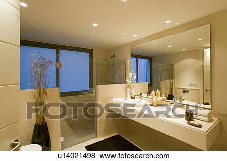 Immagini - porte vetro, a, doccia, zona, in, moderno, neutrale ...