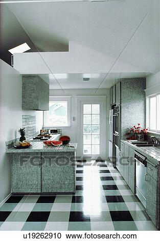 Stock Photography of Shiny black+white checked flooring in modern ...