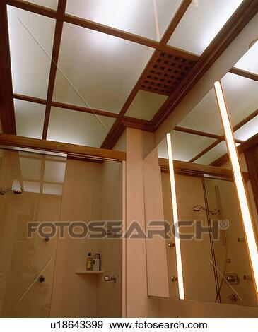 Stock Fotografie - verlicht, ondoorzichtig, glas plafond, panelen ...