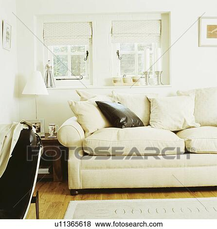 White Sofa In Cottage Living Room