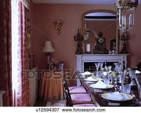Picture   Wine Glasses And Place Settings On Table In Dark Pink Traditional Dining  Room .