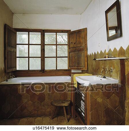 Stock Fotografie - zeshoekig, aarden, tegels, op, bad, en, spoelbak ...