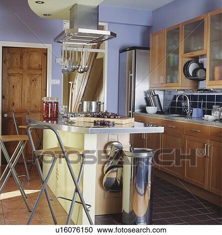 Acciaio, sprechi bidone, sotto, sbarra colazione, su, isola, unità ...