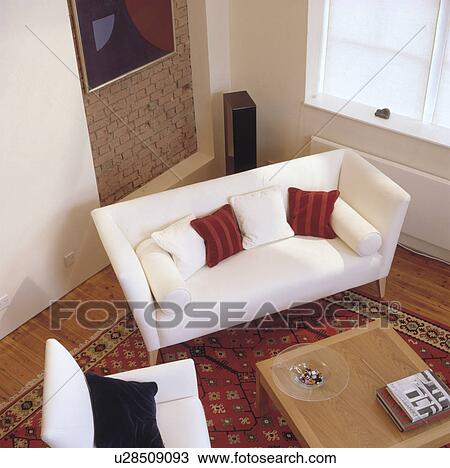 Stock Photo Of Aerial View Of White Sofa In Modern Living Room