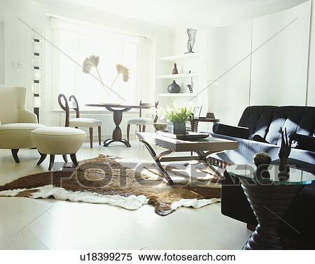 Animalskin, tappeto, bianco, pavimento, di, moderno, monocromatico,  soggiorno Archivio fotografico