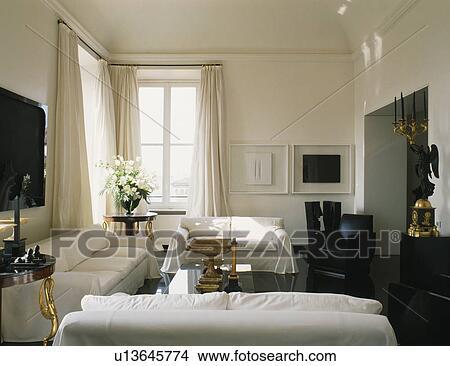 Bianco, sofà, in, moderno, bianco, appartamento, soggiorno Immagine