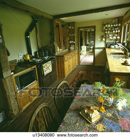 Brown Aga And Built In Microwave Old Fashioned Wooden Country