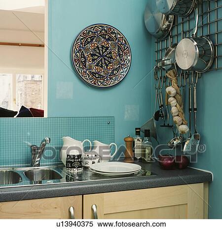 Banque d\'Image - coin, de, turquoise, cuisine, à, céramique, plaque ...