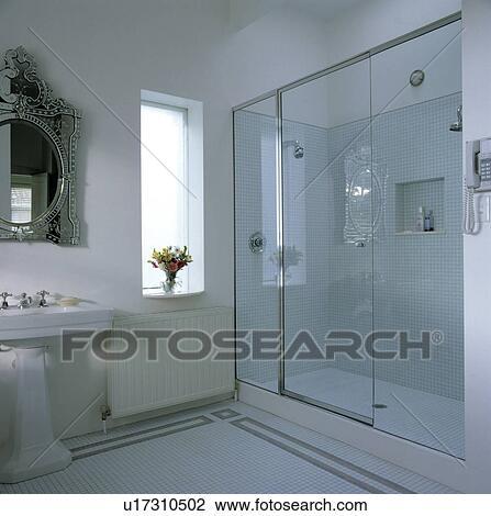 Banque de Photo - contemporain, blanc, salle bains, à, a, vénitien ...