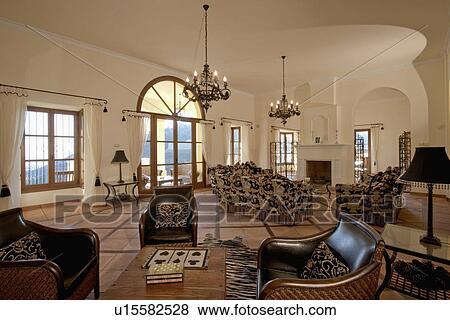 Immagini - cuoio, poltrone, e, terracotta, pavimento pavimentato, in ...