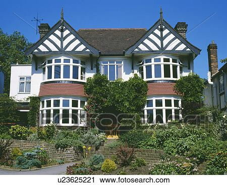 Stock Image Double Fronted Detached Thirties House With Bay Windows Fotosearch