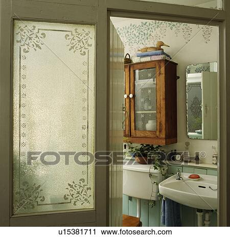 Stock Photography Of Engraved Glass Panel In Door Of Traditional