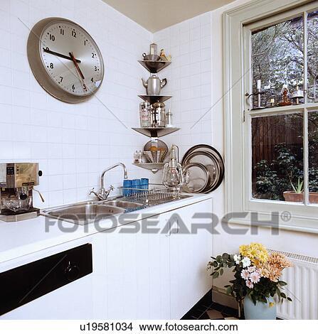 Colección de foto - grande, reloj, sobre, doble, acero inoxidable ...
