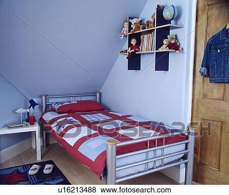 Modernes schlafzimmer blau  Bilder - modernes, blau, schlafzimmer kindes, unter, dass, traufe ...