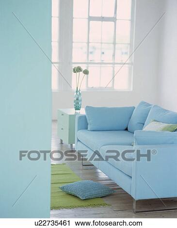 Pastel Blue Sofa In Modern Living Room
