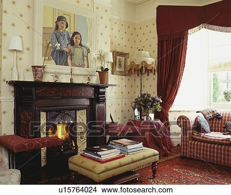 Red curtains in traditional living room Picture | u15764024 ...