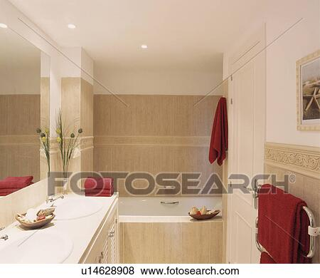 Picture Red Towels In Modern Travertine Bathroom Fotosearch Search Stock Photos Images