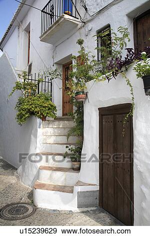 Stock Photograph Of Traditional White Spanish House With Steps