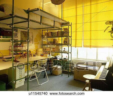 773d9372022 Άσπρο, γραφείο, και, καρέκλα, κάτω από, εξέδρα, κρεβάτι, επάνω, μέταλλο,  κορνίζα, με, ακέραιος, ράφια, μέσα, εφηβικής ηλικίας, κρεβατοκάμαρα