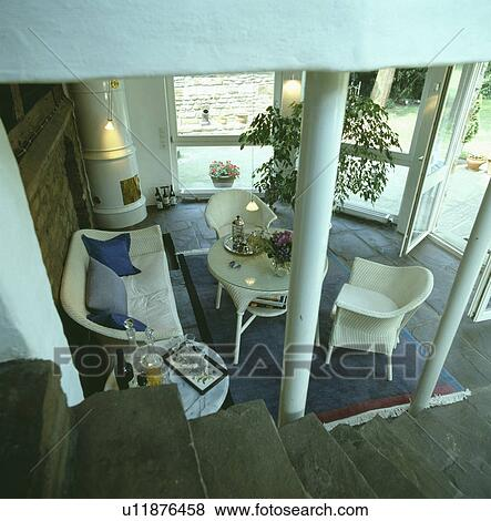 Pictures Of Aerial View Of Living Room Extension With White Lloyd