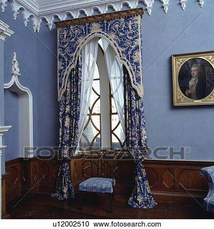 Stock Photography of Bluewhite patterned curtains and pelmet on