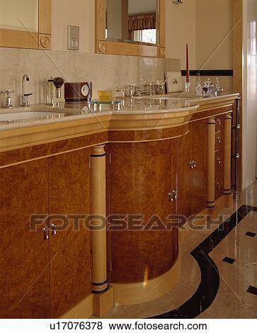 Curved Walnut Vanity Unit In Bathroom