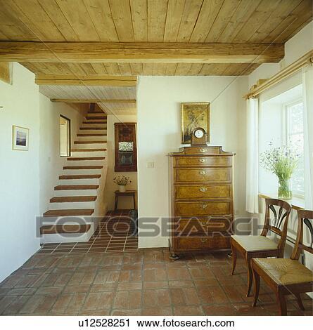 Bekannt Holz, decke, fliese boden, innere, halle, skandinavisch Stock Bild AI33