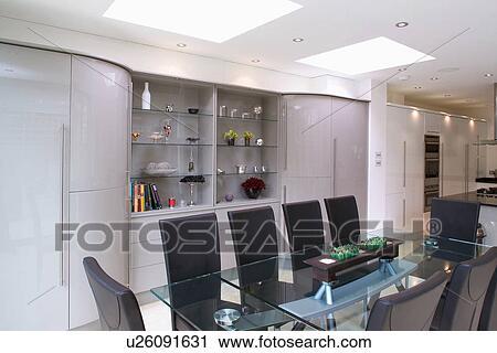Banco de Fotografías - mesa de vidrio, y, tapizado, negro, sillas ...