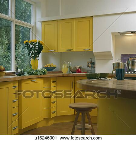 Brilliant Modern Kitchen With Yellow Cupboards And Units And Wooden Ibusinesslaw Wood Chair Design Ideas Ibusinesslaworg