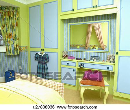 Moderne, bleu vert, chambre coucher enfant, à, construit dans, garde ...