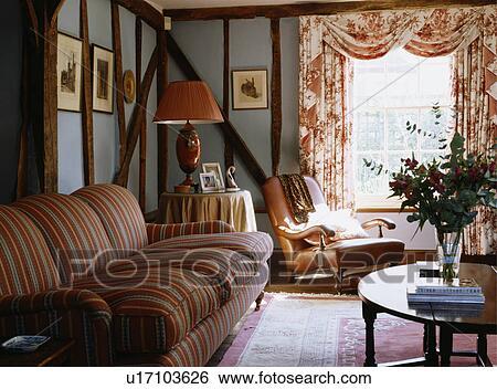 Nachgebildet, Vorhänge, In, Blau, Hütte, Wohnzimmer