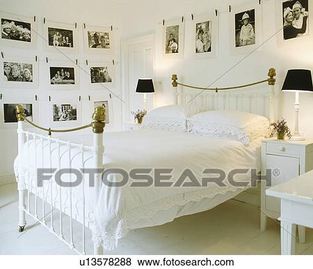 Noir blanc, photographies, sur, les, murs, de, blanc, chambre à ...