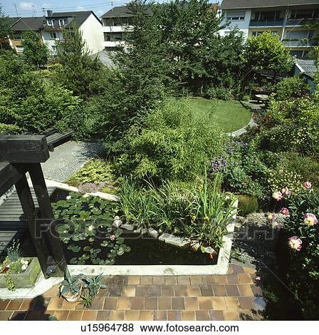 Patios Water Paths Ponds Gardens Modern Stock Photo