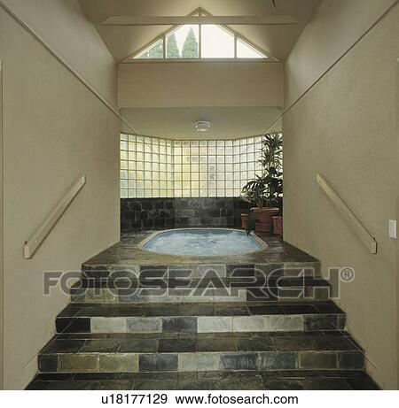 Verre, intérieur, brique, escalier, moderne Banque de Photo