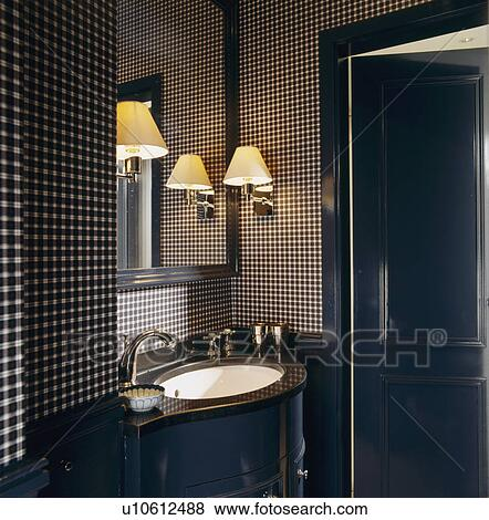 Picture Wall Light Above Basin In Cloakroom With Black White Checked Wallpaper