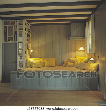 Wall Lights Above Built In Seating Pastel Blue Panelled Scandinavian Living Room