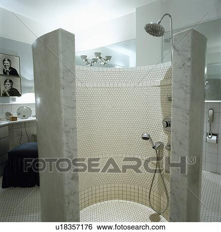 Stock Images of architectural, interior, showers, walls, modern ...