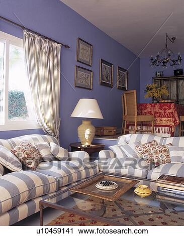 Stock Photography Blue White Striped Sofas In Living Room Spanish Villa